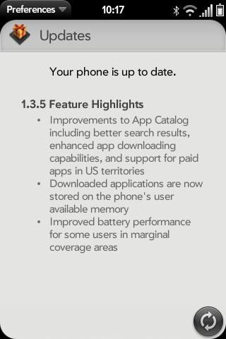 Palm Pre update screen