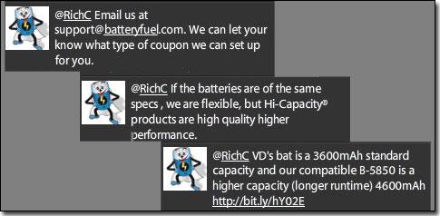 Batteryfuel.com Twitter conversation