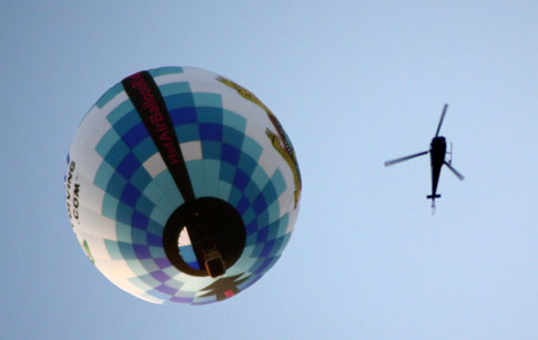 Balloon and helicopter