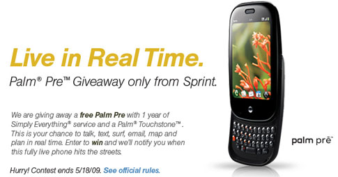 Sprint Palm Pre Giveaway