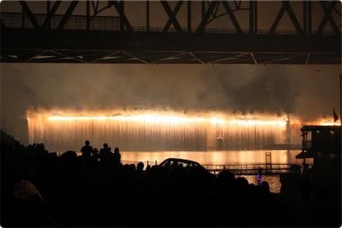 Raining fireworks from bridge