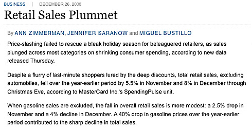 retail sale plummet