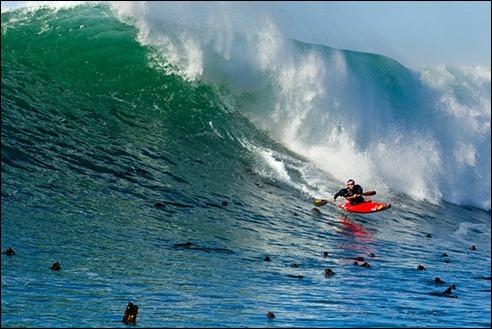 Tao Berman kayak surfing at Nelscott Reef, Oregon, USA. 2012.