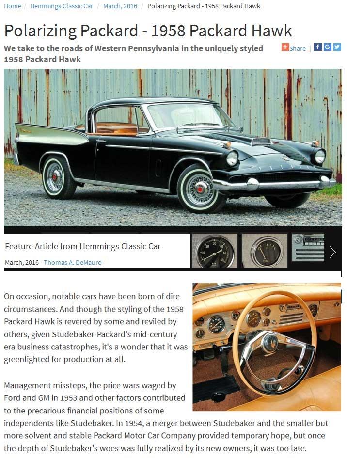 Hemmings Classic Car highlighted the 1958 Packard Hawk | My ...