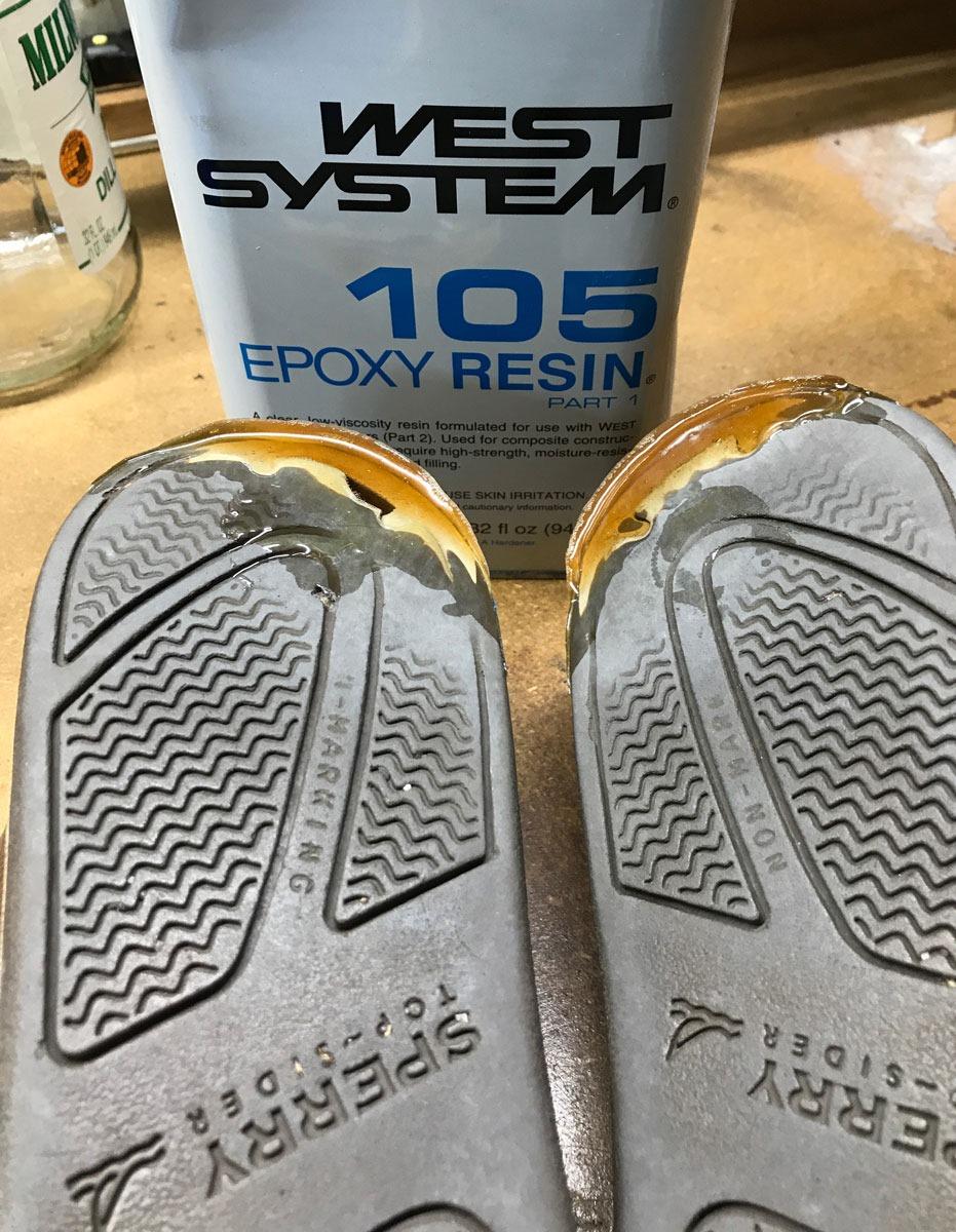repair worn heels with epoxy