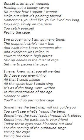 PacingTheCageLyrics