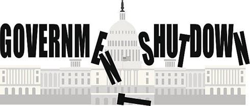 Washington DC Capitol Government Shutdown Vector Illustration