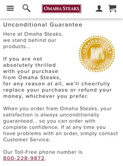 OmahaSteaksUnconditionalGuarantee
